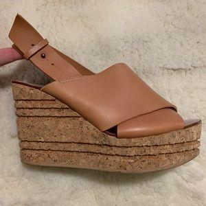 ZARA Cork Wedges Tan Leather size 40